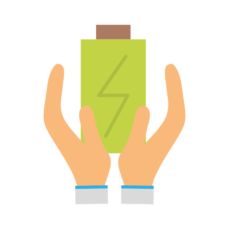 low energy: power electric battery charger in the hands Illustration