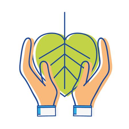Feuille naturelle à la conservation de l'environnement dans les mains Banque d'images - 82605811