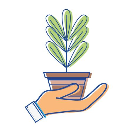plant with leaves inside flowerpot design in the hand Illustration