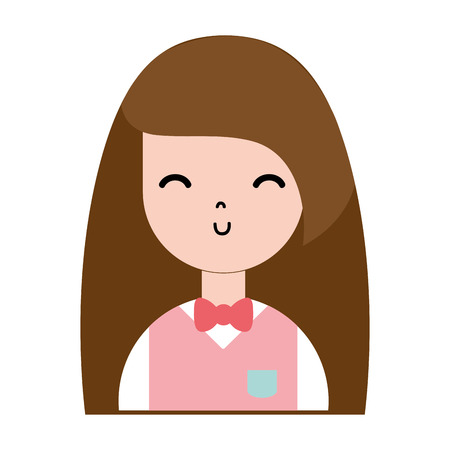 schoonheid meisje met kapsel en uniforme kleding Stock Illustratie