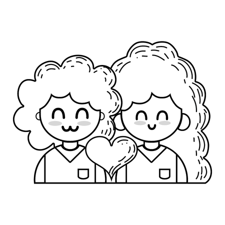 Line couple with beauty relation ships and heart Ilustrace