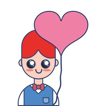 Mooie jongen met uniforme kleding en hartballon