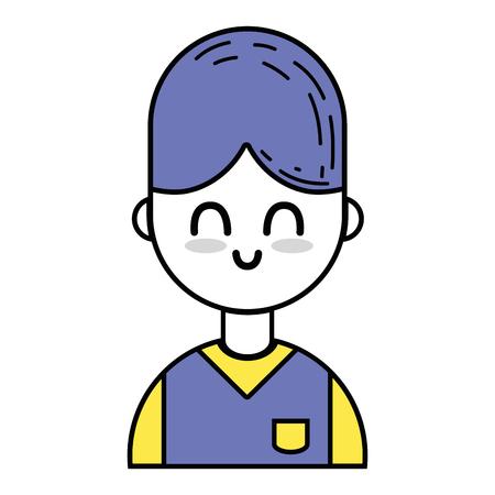 Mooie jongen met kapsel en uniforme kleding