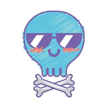 calavera caricatura: cráneo feliz lindo del kawaii con los huesos