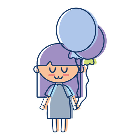 pijama: beauty girl with balloons and hairstyle design