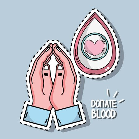 hands and drop blood donation with heart symbol