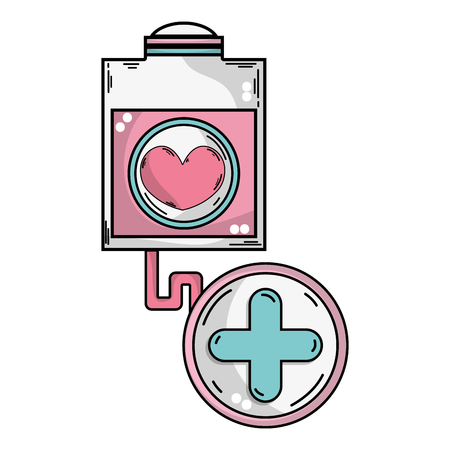 A transfusion tool with cross clinical symbol illustration.