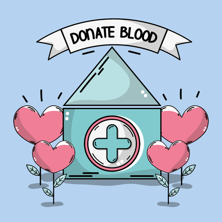 A blood donation house with heart plant illustration.