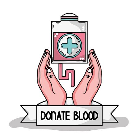 A hands with transfusion tool with cross symbol illustration. Illustration