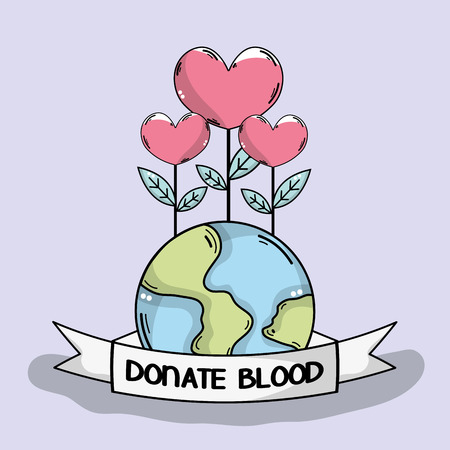 A global blood donation with heart plant illustration. Illustration