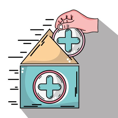 A house blood donation with cross symbol and hand illustration.