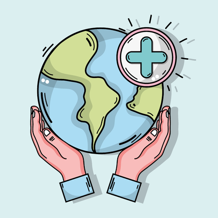 A hands with global planet and cross clinical symbol illustration.