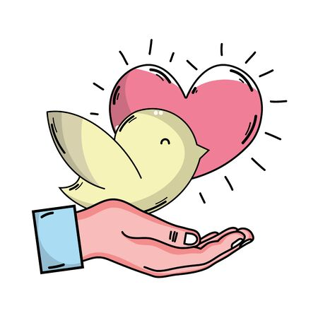 A hand with dove and heart to blood donation symbol illustration.