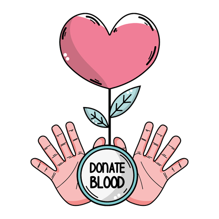 A hands with heart plant to blood donation symbol illustration.