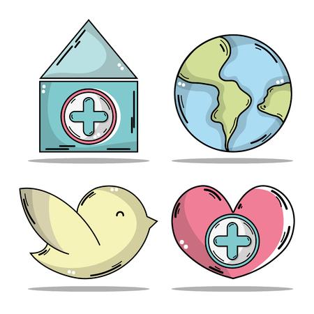A set blood donation with medical symbol illustration. Illustration