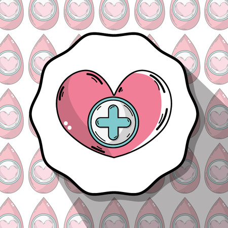 十字のシンボルとエンブレム血寄付心