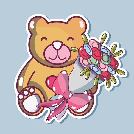 teddy bear design with bouquet flowers Illustration