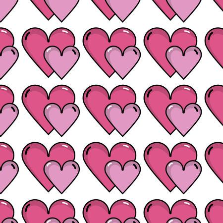 nice romantic hearts decoration background design vector illustration