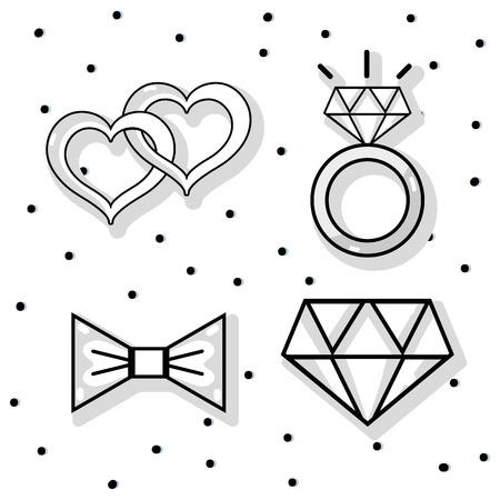 Set groom and bride accessories decoration design vector illustration Illustration