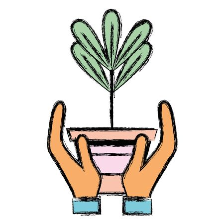 Plant with leaves inside flowerpot design in the hands