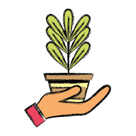 plant with leaves inside flowerpot design in the hand vector illustration