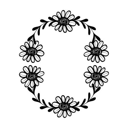 Rami di cerchio rustico con foglie e fiori