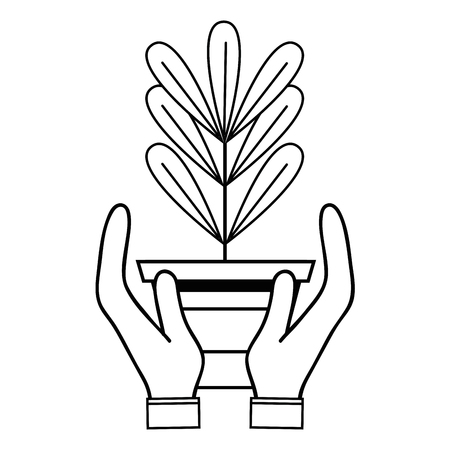 Line plant with leaves inside flowerpot design in the hands vector illustration