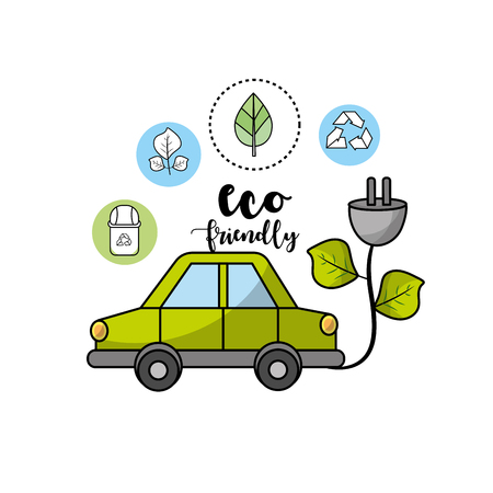 ecological car with power cable with leaves Illustration