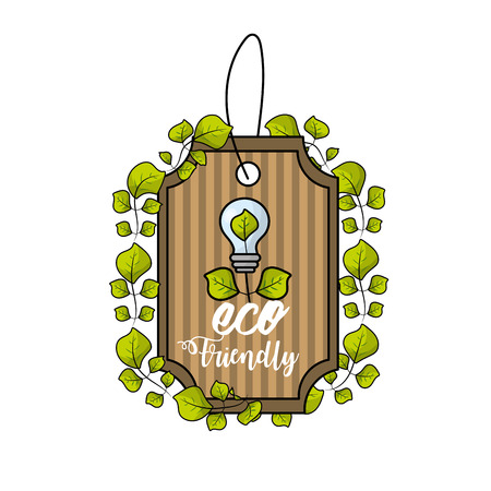 Label with bulb and leaves decoration design symbol