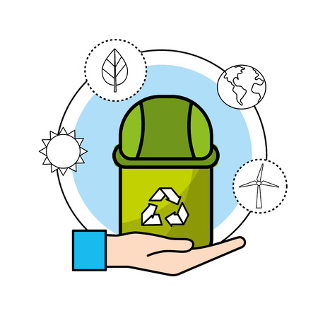 Trash can with environment care icon Illustration