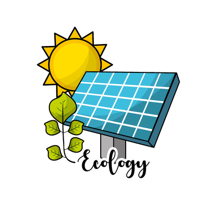 solar energy with leaves and sun to environment care