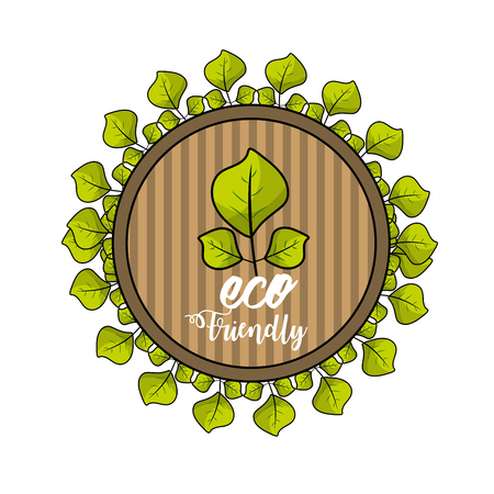 eco emblem with leaves decoration design