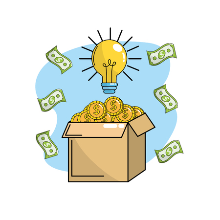 coins inside box with bulb idea and bills Illustration