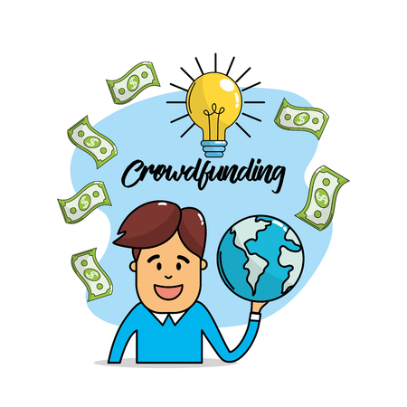 bulb idea with bills and global business