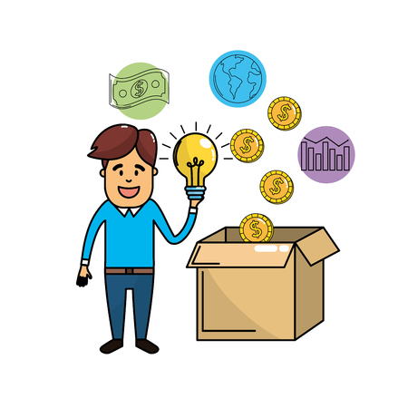 businessman with bulb idea in the hand and cash money