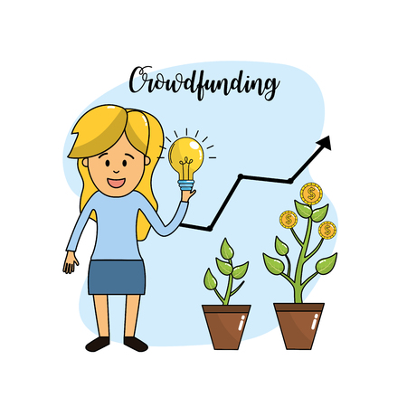 businesswoman with bulb idea in the hand and coins plant