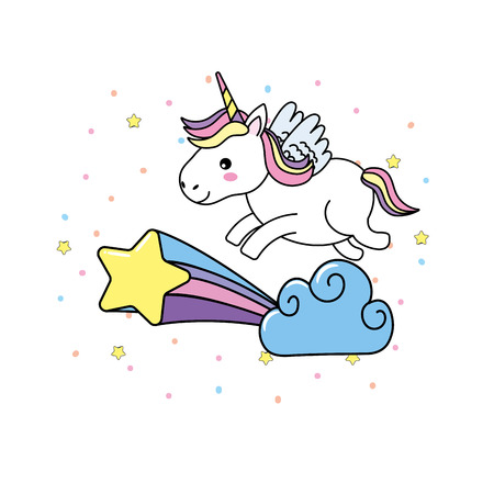 cute unicorn with wings and cloud with star