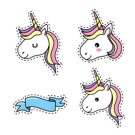 set unicorn head with hairstyle and ribbon design Illustration