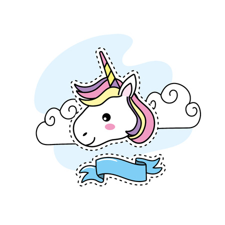 cute unicorn head with clouds and ribbon design