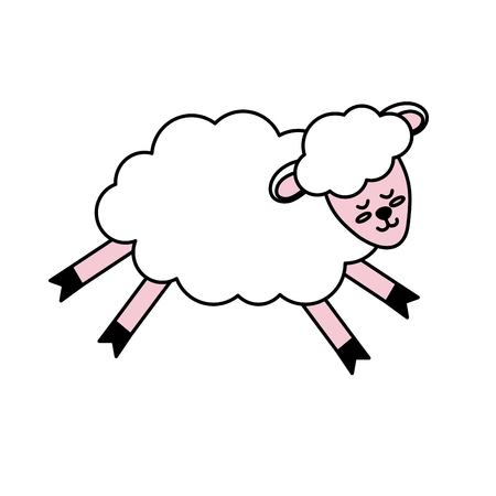 cute sheep animal with wool design