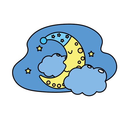 cosmology: cute moon with sleep hat design and clouds with stars
