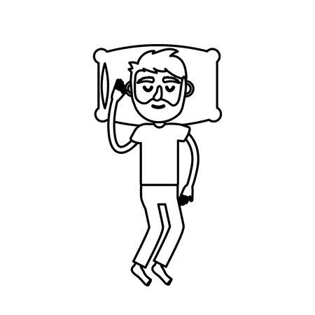 desing: line man with hairstyle desing sleeping Illustration