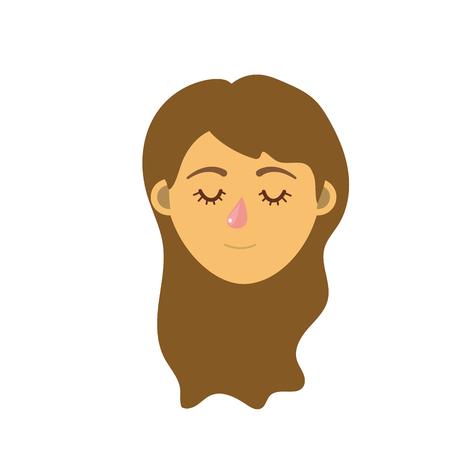Tête de femme avec les yeux fermés et la conception de la coiffure en illustration de dessin animé Banque d'images - 82989480