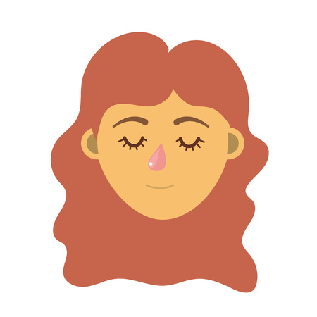Womans head with closed eyes and long hairstyle design cartoon illustration. Ilustracja