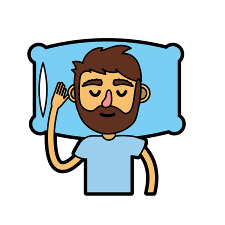 pijama: Man with hairstyle design sleeping. Vector illustration.
