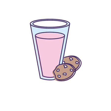 milker: delicious yogurt with chocolate cookies vector illustration Illustration