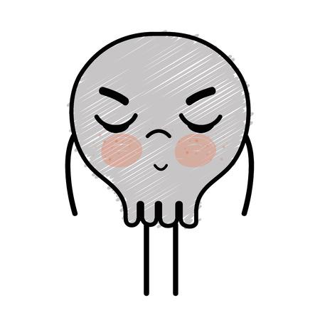 calavera caricatura: Cráneo lindo, enojado