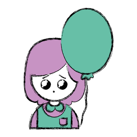 A beauty girl with uniform clothes and heart balloon illustration. Illustration
