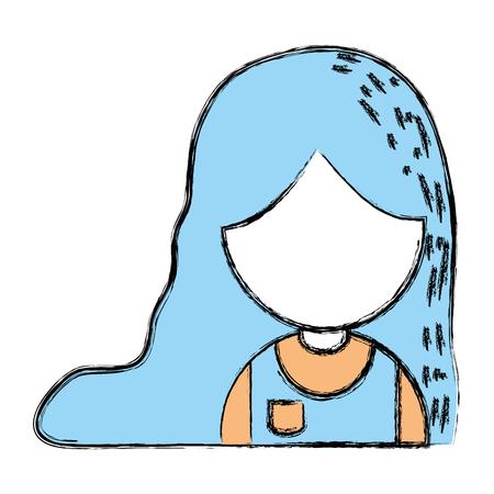 schoonheid meisje met kapsel en uniforme kleding vectorillustratie Stock Illustratie