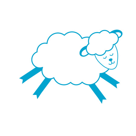 silhouette cute sheep animal with wool design